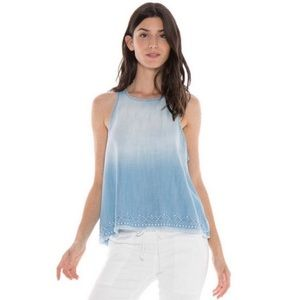 Cloth & Stone Ombre Chambray Tank Top Embroidered